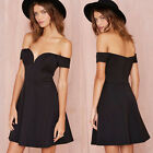 Off Shoulder Sexy Mini Ladies Skater Skirt Dress Clubwear Cocktail Party Sundres