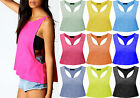 Ladies Burn Out Top Racer Back Womens Sport Muscle Vest Tank Sizes 8-14