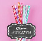 Fun Colorful Chevron Striped Straws Birthday, Wedding, Party Decorations