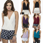 Women Sexy Strap Tank Vest Deep V Neck Loose Sleeveless Wrap T Shirt Tops Blouse