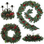 Pre-Lit LED Plain Decorated Wreath Garland Swag Arch  Candle Holder Natural Pine