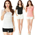 New Women Lace Slim Waist Blouse Tops Delicate Short Sleeve Tee Shirts M-3XL