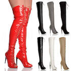 WOMENS LADIES HIGH HEEL STILETTO LACE UP ZIP CLUB OVER THE KNEE THIGH BOOTS SIZE
