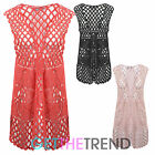 WOMENS KNITTED CROCHET WAISTCOAT LADIES FINE ITALIAN KNITWEAR SHORT CARDIGAN