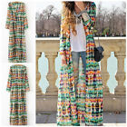 Fashion Vogue Women Boho Vintage Chiffon Long Gypsy Maxi Cardigan Shirt Dress