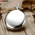 Classic Vintage Smooth Retro Pocket Watch Chain Quartz Pendant Antique Necklace image