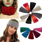 Lady Women Camellia Warm Soft Wool Crochet Headband Knit Wide Hair Band UK