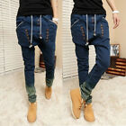 Retro Denim Gradient Blue Drop Crotch Harem Pencil Baggy Mens Jean Pant Trousers