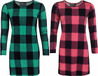 New Womens Crepe Knit Check Tartan Swing Long Sleeve Dress Ladies Mini Top 8-14
