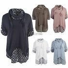 Ladies Womens Italian Lagenlook Scarf Polkadot Dotty Sailor Tunic Collar Shirt
