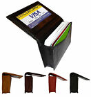 Genuine LEATHER Mens Bifold Window ID Credit Card Expandable Wallet Holder