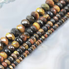 "Natural Tigereye Faceted Rondelle Beads 15"" 6,8,10,12mm, pick your size"