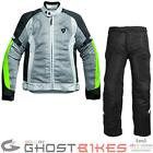 Rev It Airwave Motorcycle Jacket Trousers Silver Neon Yellow Black Kit Armoured