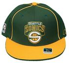 New! Seattle Supersonics Flatbill Fitted Hat 3D Embroidered Cap - Reebok Green