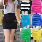 New Sexy Ladies Womens Candy Color Ribbed Bandage Bodycon Panel Mini Skirt