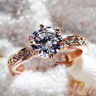 Rose Gold Plate Brilliant Cut Solitaire With Accents Crystal Engagement Ring R65