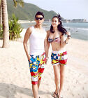 Couple Lovers Mens Womens Flower Beach Surf Board Swim Hot Shorts Pants DR634