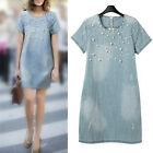 Women Summer Loose Dress Short Sleeve Beaded Denim Jean Dress Plus Size S-4XL