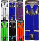 Mens Plain Colour Braces Shirt Trouser 35mm Elastic Adjustable Suspenders Brace
