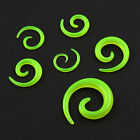 Pair Acrylic Green Glow in the Dark Ear Spiral Taper Plugs Gauges Stretcher