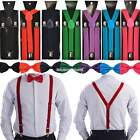 Gentlemen Men's Pre-Tied Y-Back Adjustable Bowtie Clip Suspenders For Wedd EN24H