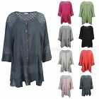 Ladies Womens Italian Lagenlook Button Up Crochet Lace Panel Layering Shirt