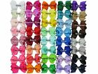 "bow hair clips girls bows grosgrain ribbon 40 colours free post 7cms 2.5"" lot"