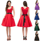 40's 50's Vintage Retro Cap Sleeve Rockabilly Housewife Pinup Swing Polka Dress