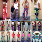 Women Sexy Fashion Floral Casual High Waist Yoga Gym Long Pants Palazzo Trousers