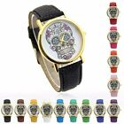 Women's Fashion Sugar Skull Dial Quartz Analog Wrist Watches,Faux Leather Band
