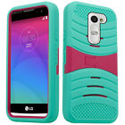 Boost Mobile LG Tribute 2 Hard Gel Rubber KICKSTAND Protector Cover+Screen Guard