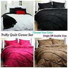 WHITE BLACK HOT PINK LATTE Puffy Quilt Duvet Ruched Cover Set SINGLE DOUBLE