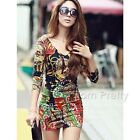 Women Colorful Printing Dress Round Neck Dress Vintage Summer Mini Dress