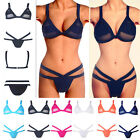 Fashion Sexy Ladies Cut Out Bandage Mesh Bikini set no padded Swimsuit S M L