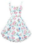 HELL BUNNY ~LaCeY~ Light Turquoise Rose & Bird Satin Bow Dress XXS-XL 4-16