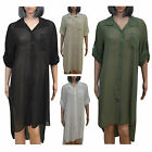 BRAND NEW LONG CHIFFON COLLARED SUMMER SEE THROUGH BUTTON DOWN MIDI SHIRT DRESS