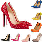WOMENS HIGH HEELS POINTED CORSET STYLE WORK PUMPS RIVETS COURT SHOES SIZE 4-11
