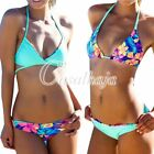 Double sides Wear Retro Printed Bandeau Bikini Padded Bra Push up Swimsuit BK58
