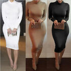 New Design Women Sexy Long Sleeve Turtleneck Maxi Party Bodycon Bandage Dress