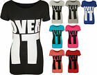 New Womens 'Over It' Slogan Print Ladies Stretch Short Sleeve T-Shirt Top 8-14
