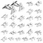 Mens initial letter silver alphabet cufflink cuff link wedding formal business
