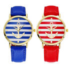 CHIC Hot Fashion Women's Ladies Cute Striped Anchor Style Leather Watch New