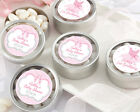 24 Personalized Tutu Cute Round Silver Candy Tins Baby Shower Favors