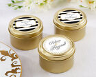 144 Personalized Classic Wedding Theme Round Gold Candy Tins Wedding Favors