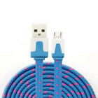 NTJ 6FT LONG Flat Braided Fabric Charger Cable charging for MICRO USB data sync