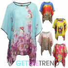 Womens Ladies Kimono Loose Waterfall Chiffon Kaftan Poncho Top Shirt One Size