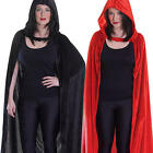 Long Velvet Hooded Cloak Adults Halloween Fancy Dress Mens Ladies Costume New