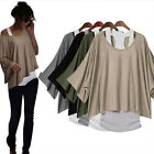 Womens 2 in 1 Style New Loose Batwing Tops Blouses Tank Casual Vest