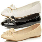 WOMENS LADIES FLAT LOW HEEL TASSEL FRINGE BALLERINA WORK DOLLY SHOES SIZE