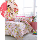 Oriental Beautiful Birds Duvet Cover with Floral Cherry Blossoms – Coral Pink